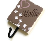 Custom Pet Name Dog Leash Holder, Personalized Pet Accessory Hook, Dog Paw Prints Wall Hook