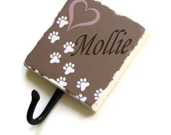 Custom Pet Name Dog Leash Holder, Personalized Pet Accessory Hook, Dog Paw Prints Wall Hook