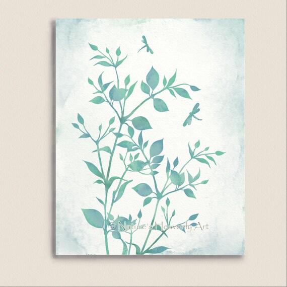 watercolor art print dragonflies blue green wall art. Black Bedroom Furniture Sets. Home Design Ideas