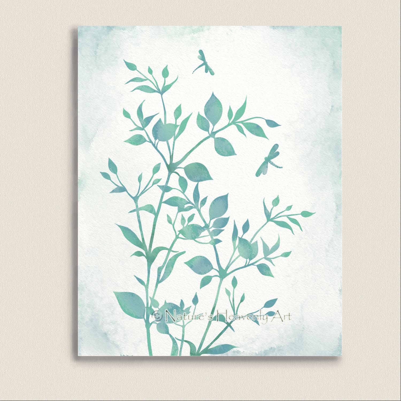 Watercolor art print dragonflies blue green wall art for Green wall art