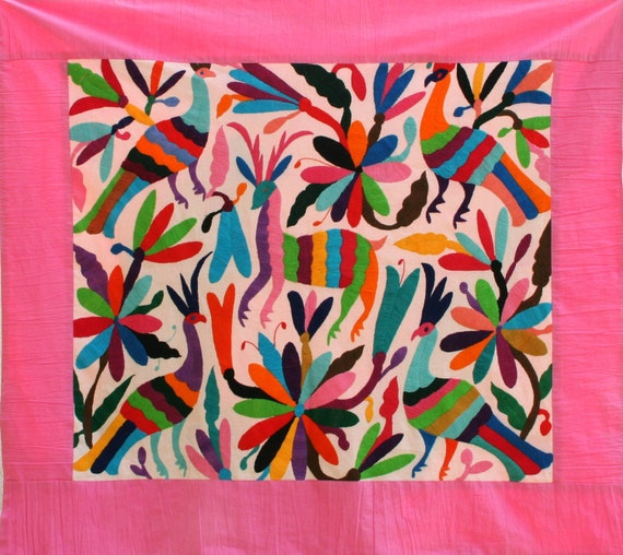 Pink Otomi Baby Blanket  Gorgeous and ready to Ship
