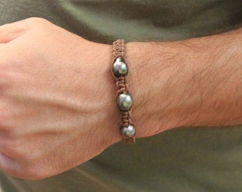 UNISEX - genuine tahitian pearls and leather bracelet