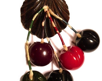 Rare Bakelite Five Colors Carved Cherries Brooch. USA 1940s.