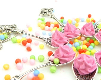"""The Bakers Necklace """" Sweetest Spoon """" silver Antique Style spoon charm topped with sweet fake pink cupcake frosting - sweet christmas gift"""