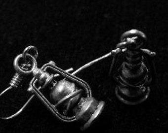 Silver Coal Miners Lantern Earrings