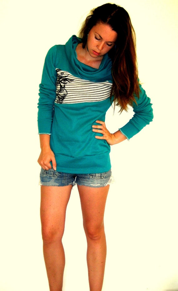 Teal Cowl Sweatshirt with Tigerface Screen Print