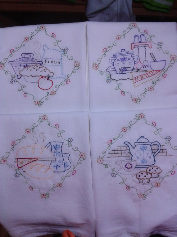 Machine Embroidered White Cotton Kitchen Tea By StitchnJEmbroidery