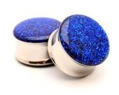 Embedded Sapphire Glitter Plugs gauges - 16g, 14g, 12g, 10g, 8g, 6g, 4g, 2g, 0g, 00g, 1/2, 9/16, 5/8, 3/4, 7/8, 1 inch