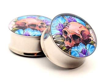 Skull and Roses Picture Plugs gauges - 16g, 14g, 12g, 10g, 8g, 6g, 4g, 2g, 0g, 00g, 1/2, 9/16, 5/8, 3/4, 7/8, 1 inch