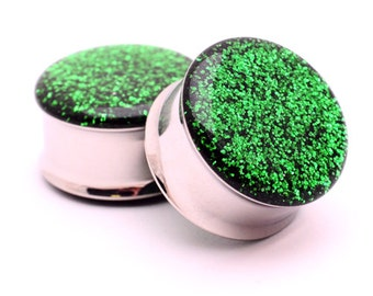 "Embedded Emerald Glitter Plugs gauges - 00g, 7/16"", 1/2, 9/16, 5/8, 3/4, 7/8, 1 inch"