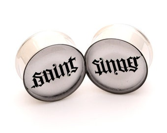 Saint and Sinner Picture Plugs gauges - 1 1/8, 1 1/4, 1 3/8, 1 1/2 inch