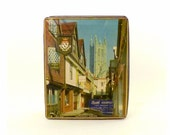 Vintage Metal Box - Candy Toffee Tin - Canterbury England - Collectible Box - Edward Sharp and Sons - English City Photo Cover - Under 15