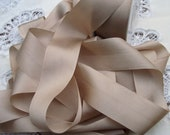 Pure Silk Ribbon  Champagne Color 1 1/2 inch  36mm wide 5 yards