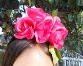 Hot Pink Pink Flowered Headpiece