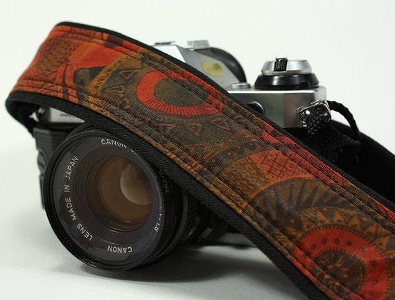 dSLR Camera Strap, Aztec, Rust, Teal, Gold, Black