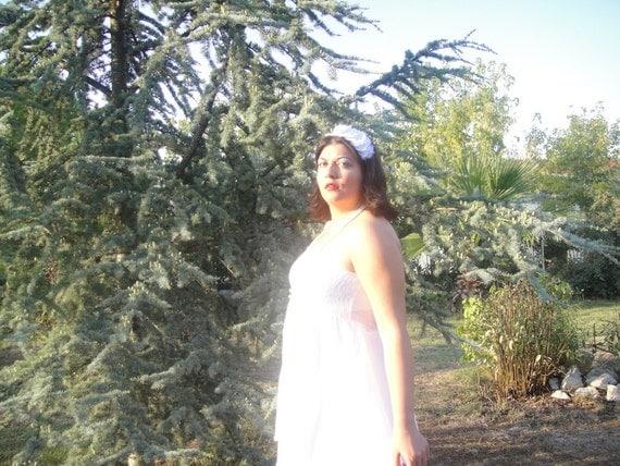 ruffled snow white roses garden wedding headband, cuff bracelet, statement necklace
