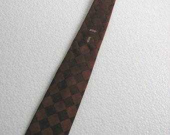 1950's 1960's Vintage SKINNY Tie.  Beautiful Silk Necktie.  Mod, Eames era, Mad Men, Beatles, Rockabilly.