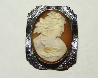 Victorian Sterling Silver Cameo Brooch on Etsy