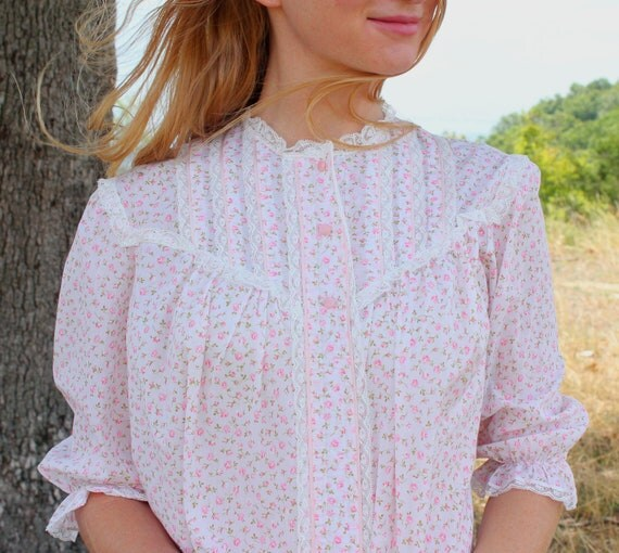 RESERVED Vintage Hippie Blouse in Sheer Light Pink Cotton Blend with Lace . Womens Shirt . Bed Jacket