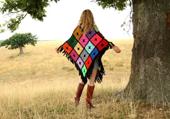 Colorful 1970s Poncho Hand Crocheted Granny Squares with Fringe Boho Hippie Long Oversized