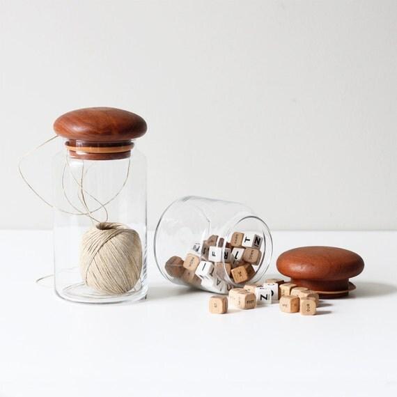 vintage teak top canister set / modern storage jar / set of 2