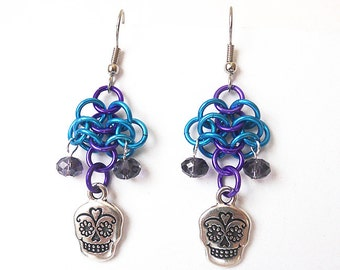 Earrings, Day of the Dead, Sugar skulls, Chainmaille, Turquoise blue, purple