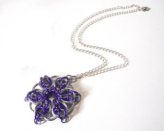 Purple star necklace, Large chainmaille star, Celtic Visions Star weave