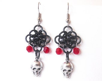 Skull earrings, Chainmaille rosettes weave, Gothic jewelry, Red and black