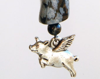 Flying Pig Zipper Pull - Snowflake Obsidian, Pigasus Purse Charm, Pig With Wings Backpack Charm, When Pigs Fly Zipper Charm
