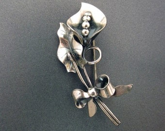 Sterling Silver Vintage Floral Brooch Sterling Jewelry
