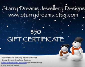 Jewellery Gift Certificate Fifty  Dollars