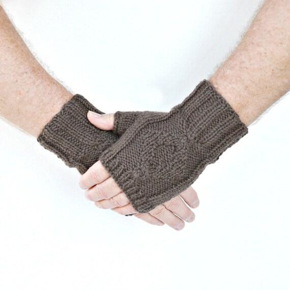 Men's wrist warmers wool taupe