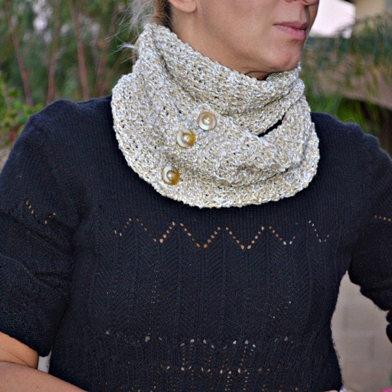 Cowl scarf hand knit cotton oatmeal neckwarmer