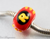 Big Hole Lampwork Bead, Superhero inspired, handmade glass charm for Euro bracelet, SRA