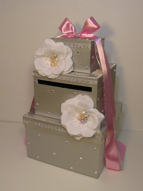 Silver Wedding Card Box with handmade flowers and Swarovski Crystals ...