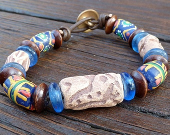 Petroglyph Recycled Glass Bracelet - Ceramic Petroglyph Bead, Blue Recycled Glass Krobo Beads, Brown Leather Bracelet