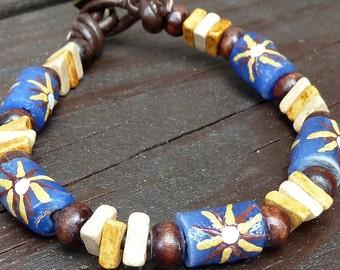 Sunburst Blue Recycled Glass Bracelet - Blue Recycled Glass Krobo Beads, Brown Leather Bracelet