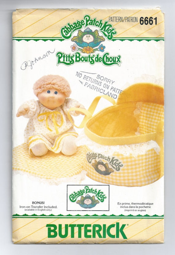 Cabbage Patch Kids pattern for Doll Bed Carrier