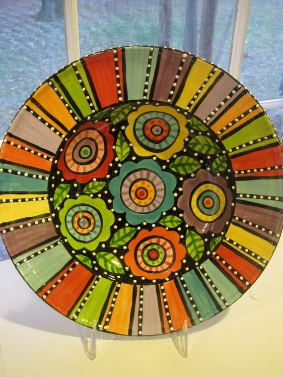 Items similar to large ceramic bowl flowers design on etsy for Big pot painting designs