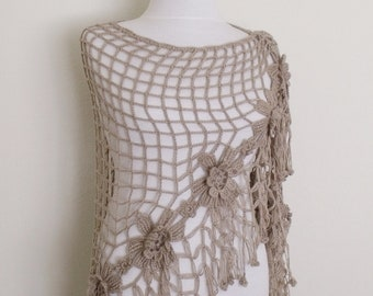 Milky Brown Flower Triangle Shawl-Ready For Shipping