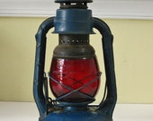 Vintage Dietz Railroad Lantern Little Wizard Kerosene Lamp Red Glass Blue Paint