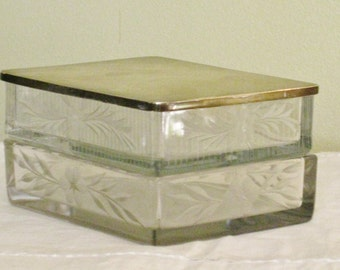 Vintage Etched Glass Dresser Vanity Jar, Nesting Box with Sterling Silver Lid, Glass Rectangle Stacking Box