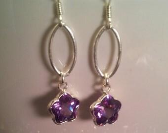 Lavender Swarovski Crystal Flower Earrings