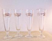 Vintage Mid Century Golden Wheat Champagne Flute Glasses