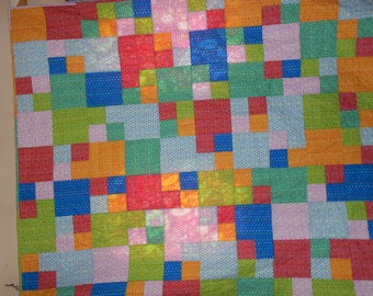 Twin size Quilt Bright Squares 12