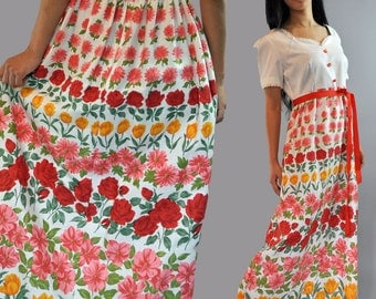60s long maxi dress / empire waist & sweetheart neckline MOD FLORAL bohemian babydoll maxi party dress S / M