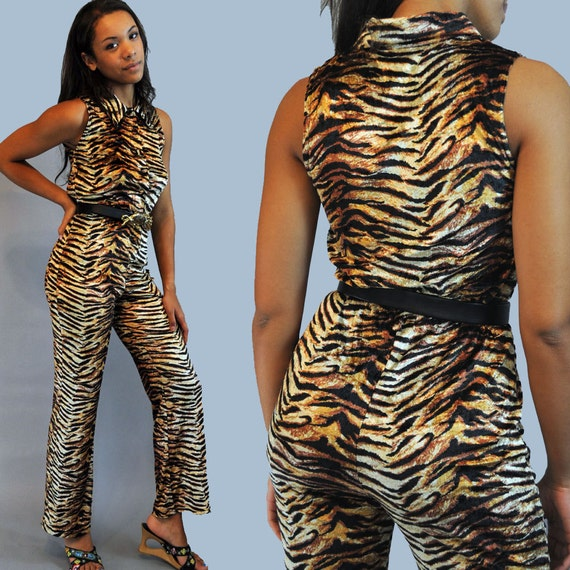 80s womens Vintage JUMPSUIT / Slinky Stretch Velvet TIGER Print One Piece Disco Cat Suit M / L