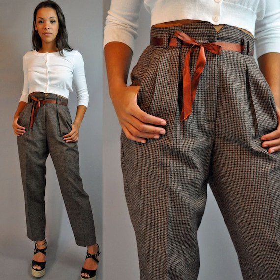 80s Vintage High Waisted Pants Plaid Trousers Pleated Front