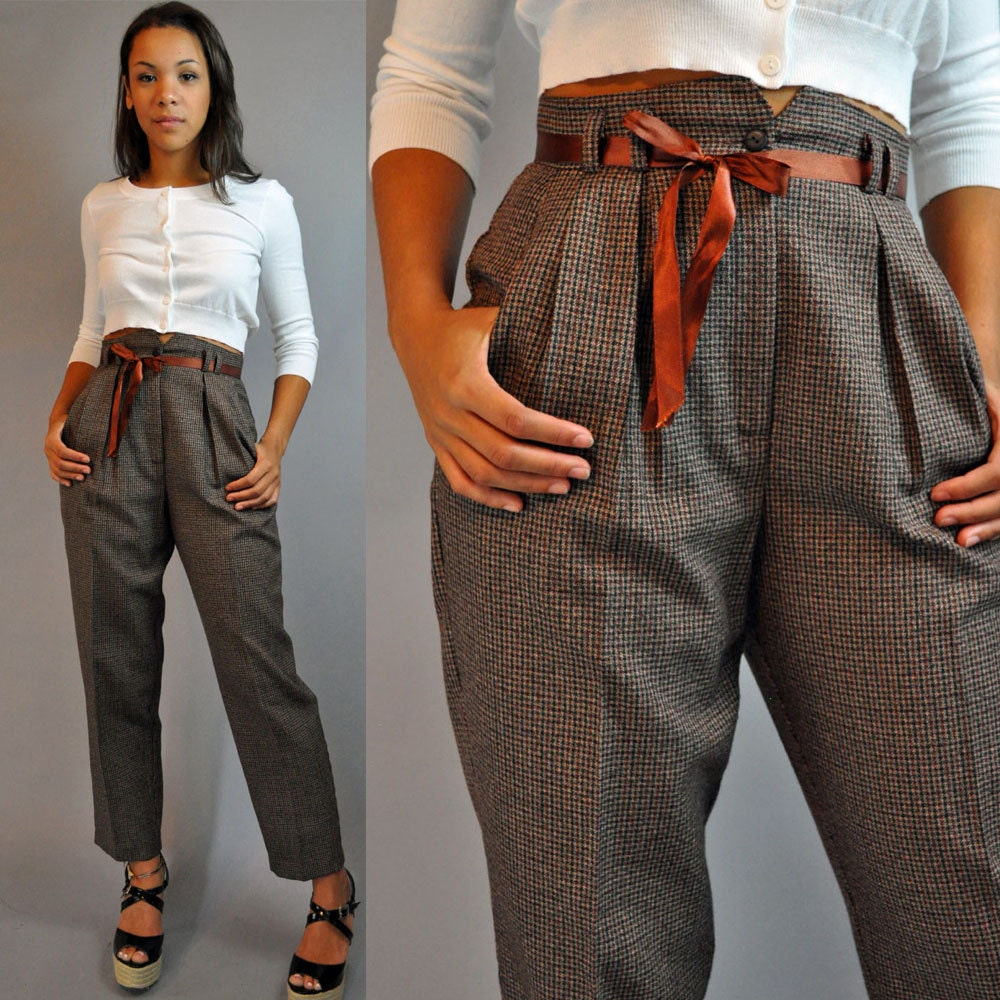 80s vintage High Waisted pants / PLAID TROUSERS Pleated Front