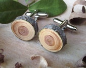 Wood Cuff Links Handmade from a Real Hemlock Tree Branch - Wooden Cufflinks Eco-friendly and Perfect for the Groom or Father - 5/8 inch